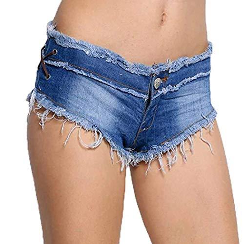 COSYOU Women Sexy Cut Off Low Waist Denim Jeans Shorts Micro Mini Hot Pants (XS, Light Blue)