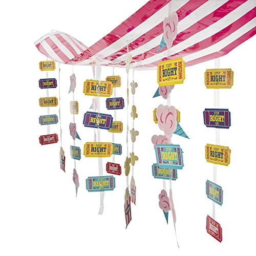 Fun Express Carnival Circus Party Striped Hanging Ticket Ceiling Decoration -