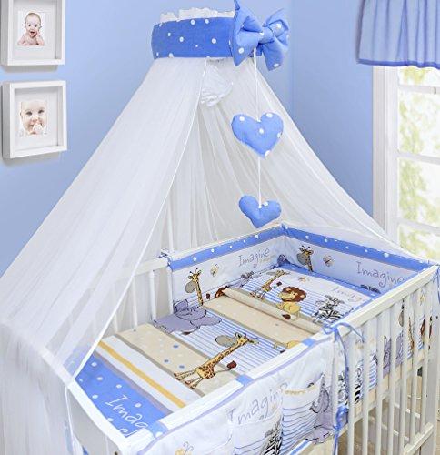 Blue Baby Bedding Set 6PCS COT Size Pillow Duvet Cover Terry Sheet Bumper 120x60CM
