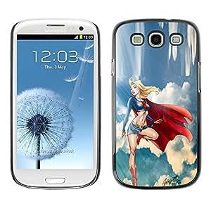 TopCaseStore / la caja del caucho duro de la cubierta de protección de la piel - Sexy Woman Sky Cape - Samsung Galaxy S3 I9300