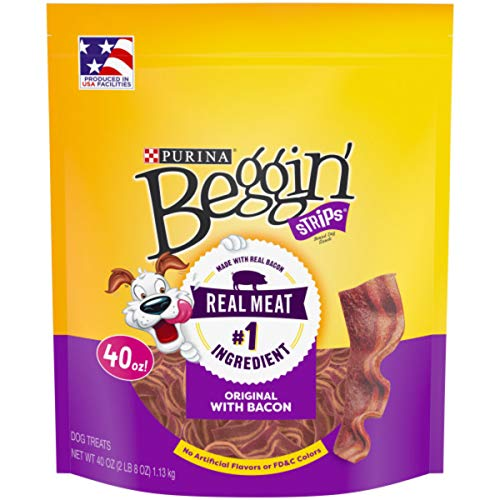 Purina Beggin' Strips Made in USA Facilities Dog Training Treats; Original With Bacon - 40 oz. Pouch