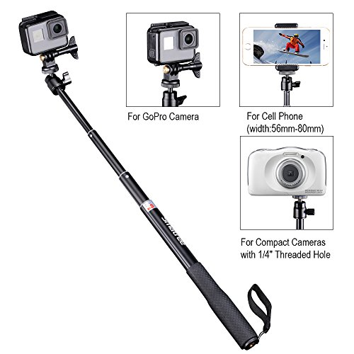 Smatree Telescoping Extendable Selfie Stick with Tripod Stand for GoPro Hero Fusion/6/5/4/3+/3/2/1/Session/GOPRO HERO (2018), Ricoh Theta S/V, M15,Compact Cameras,iPhoneX,Galaxy S8 and Cell Phones by Smatree (Image #1)