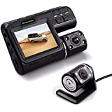 Dash Camera Front and Rear Cam, Driving Video Recorder 1080P, Mini Car DVR With 2 Inch LCD Screen Dashboard Cam Loop Recording,Night Vision, G-sensor