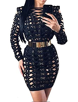 UONBOX Women's Sexy Long Sleeves Lace Up Hollow Out Clubwear Bodycon Bandage Dress