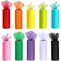 Uotyle 10 Colors Rainbow Tulle Rolls 6 Inch x 25 Yards Tulle Netting Roll Fabric Spoon with Body Measuring Ruler for…