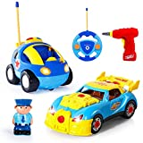 SGILE Toddlers Toy - Take Apart Racing Car & RC Cartoon Car - with Funny Sounds and Lights, Educational Toy Gift for 3 Year Olds Kids Boys Girls