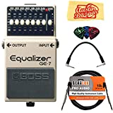 Boss GE-7 Graphic Equalizer Bundle with Instrument Cable, Patch Cable, Picks, and Austin Bazaar Polishing Cloth