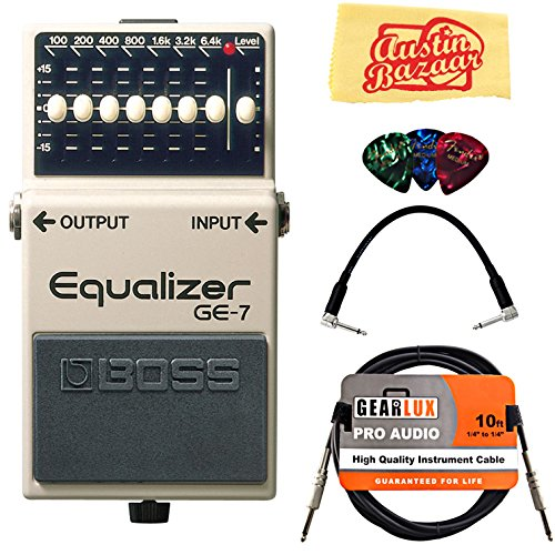 Boss GE-7 Graphic Equalizer Bundle with Instrument Cable, Patch Cable, Picks, and Austin Bazaar Polishing Cloth (Equalizer Bass Pedal)