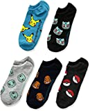 Pokemon Men's Little Boys' 5pk No Show Socks, Assorted, 6-8.5