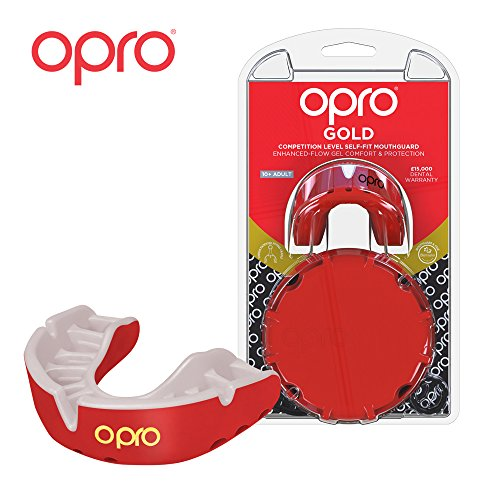 OPRO Mouthguard Custom-Fit Gold Level Gum Shield for Ball, Combat and Stick Sports - 18 Month Dental Warranty (Adult and Kids Sizes) | Red/Pearl, Adult