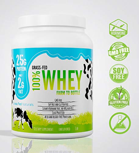 Grass Fed Natural Whey Undenatured 100% Grass Fed Whey Protein Powder, US Farm to Bottle, GMO, Soy, Gluten Free, No Preservatives, Muscle Growth & Recovery, Best Testing Protein (Unflavored, 1LB)