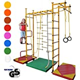 NiroSport FitTop M3 HS Training Gym Indoor Kids Playground Play Set Home Exercise Sports Fitness Training Wall Bars with Wood Rungs & Pull Up Bar incl. Gymnastic Rings, Climbing Rope, Climbing Net, Trapeze Rope