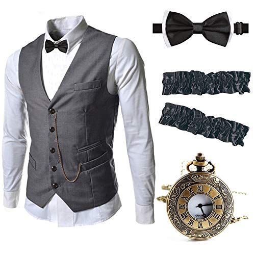 EFORLED Mens 1920s Accessories Gangster Vest Set - Pocket Watch,Armbands,Pre Tied Bow Tie,Grey,XL1