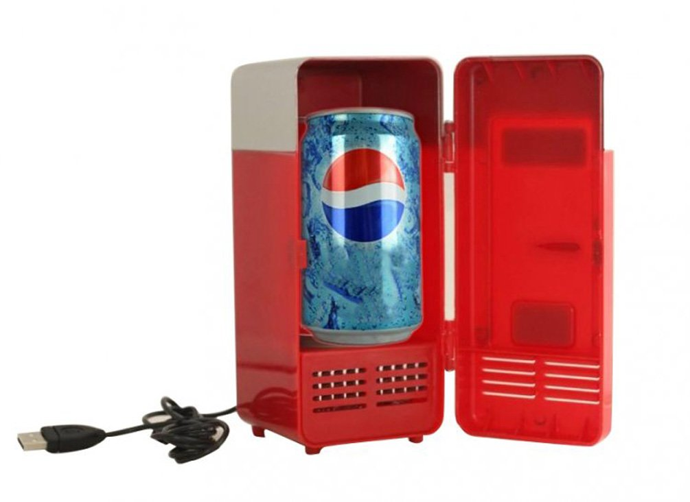vinmax Mini USB Fridge Portable Beer Beverage Drink Cans Cooler & Warmer Mini Refrigerator for Car Laptop PC Computer Office Home Travel Picnic Boat(Red)