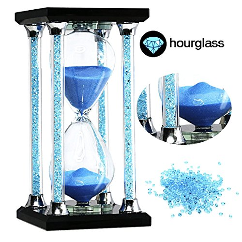 30 Minutes Hourglass Timer SZAT Romantic Crystal Diamond Sandy Clock for Office Desk Coffee Table Book Shelf Curio Cabinet Christmas Birthday Valentine's Dating(Gift Box Pack of 1, Square (Ornament Table Decoration)