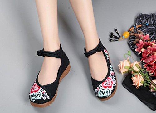 Scarpe A Da Ricamate Moda Stile Comodo Desy Casual Dell'aumento All'interno Etnico Tendina Donna Black Suola ad0t10Wnq