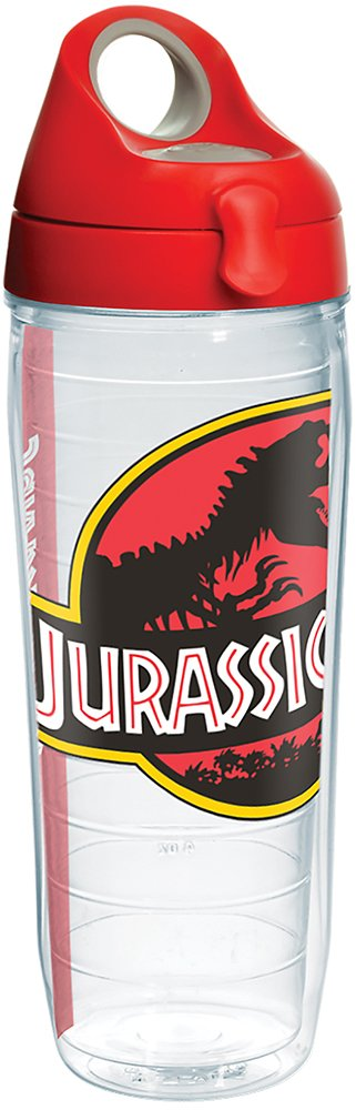 Clear Tervis 1282361 Jurassic Park Logo Tumbler with Wrap and Red with Gray Lid 24oz Water Bottle