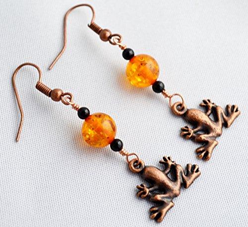 - Amber and Black Onyx Copper Frog Earrings, Black Onyx Earrings, Copper Earrings, Amber Earrings