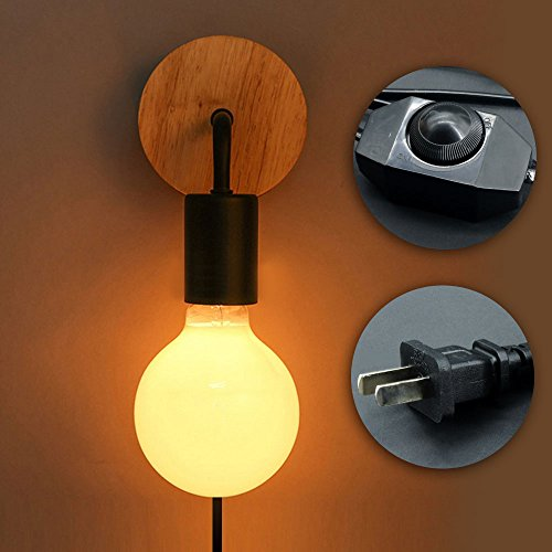 Minimalist Wall Light Sconce Plug-in E26/27 Base Modern Contemporary Style Down Lighting Dimmble Wall Lamp Fixture with Wood Base for Bedroom, Closet, Guest Room Hall Night Lighting (Black) by KIRIN (Image #8)