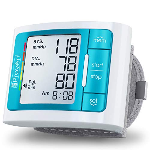 [2019 Model] iProven Blood Pressure Monitor - Large Screen with Backlight - 60-Reading Memory - Blood Pressure Cuff for Wrist - Batteries Included - BPM-337BLU (Best Automatic Wrist Blood Pressure Monitor)