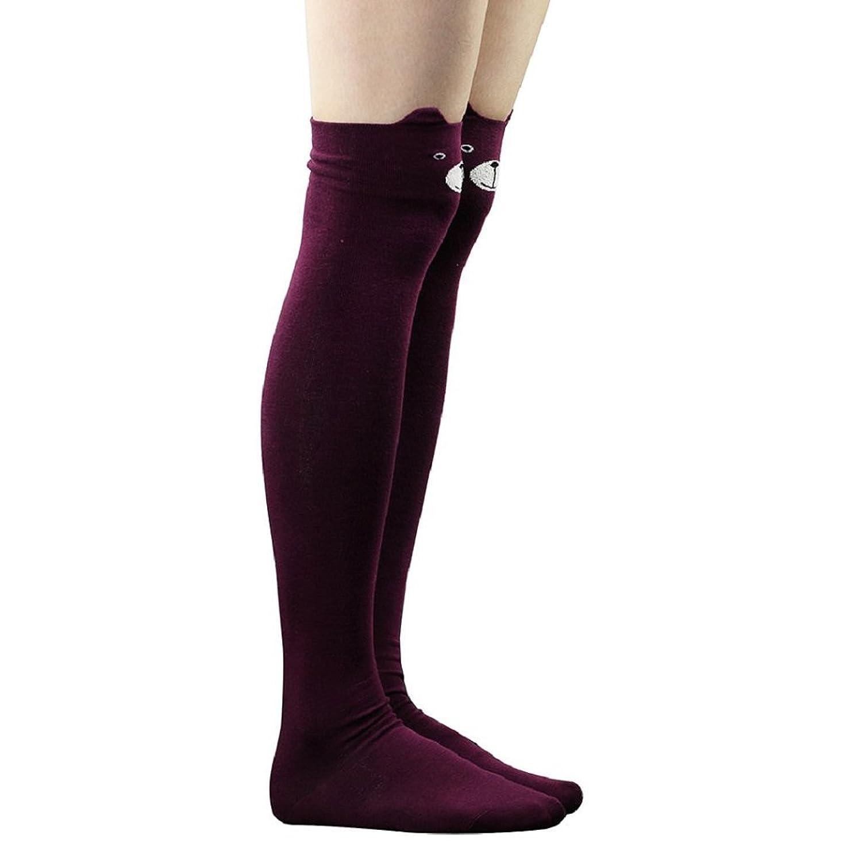 Braceus Women Girls 3D Cartoon Pattern Thigh Stockings Over Knee High Socks