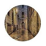 iPrint Cotton Linen Round Tablecloth,Gothic,Dark Stone Ancient Street Spain European Horror Dark Evil Renaissance Medieval Art Photo,Beige,Dining Room Kitchen Table Cloth Cover
