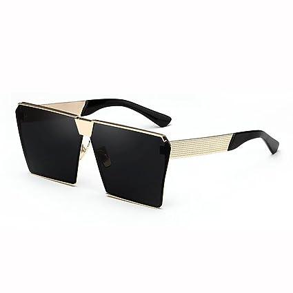 WX xin Gafas De Sol Hembra Street Beat Cara Redonda Protección UV Polarizada Color Marco Cuadrado