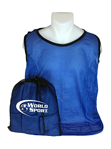 World Sport 12 Pack Adult Blue Scrimmage Vests with Carry Bag
