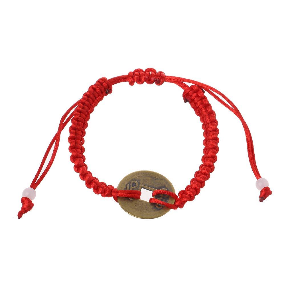 GUBENM Armbänder, Chinese Feng Shui Reichtum Glück Kupfer Münze Anhänger Red String Armbänder Schmuck GUBENM Armbänder