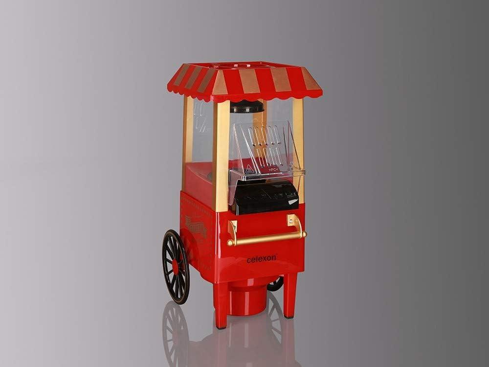 celexon máquina de Palomitas de maíz sin Aceite/bajo en Grasa CinePop CP500-24x19x39,5cm - Peso: 1,7 kg - Rojo/Retro/Funfair