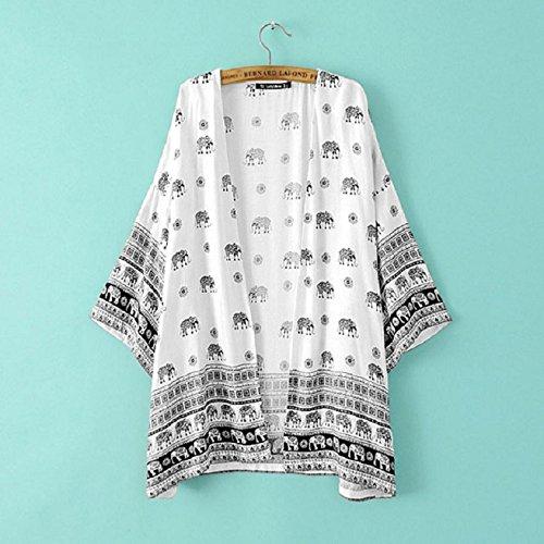 Culater Mujeres elefante Impreso mitad de la manga de la blusa kimono Cardigan cubierta hasta Blanco