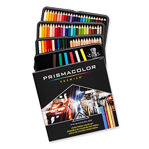 Prismacolor Art Stix Set - Prismacolor 1794654 Premier Mixed Media Set, Colored Pencils-Art Stix-Pencil Sharpener, Assorted Colours, 79-Count