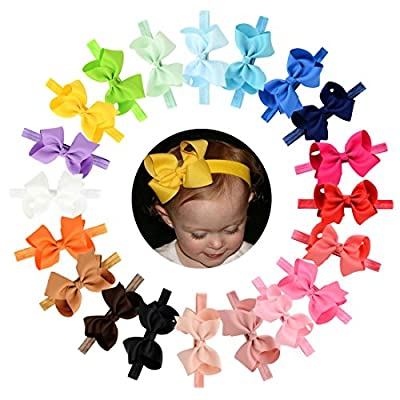 "Baby Headbands 20Pcs Baby Girls Toddlers Hair Bands Headbands with Grosgrain Ribbon Boutique 4"" Hair Bows"