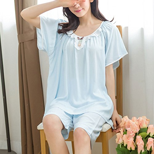 Zhhlinyuan Fashion Womens Short Sleeve Sleepwear Nightie Set Blue