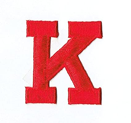 alphabet letter k color red 2 block style iron on embroidered