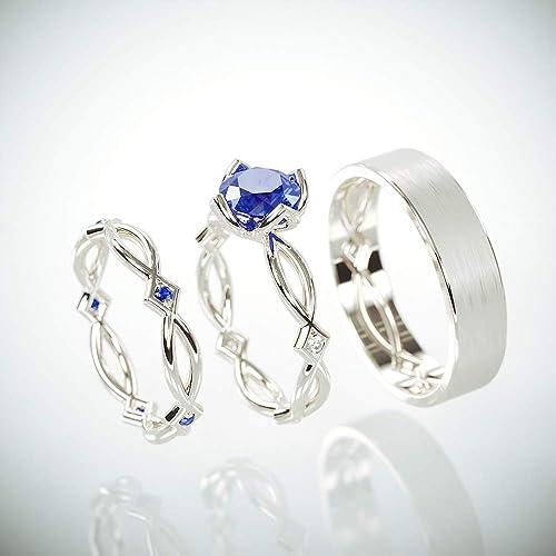 Amazon.com: Blue Sapphire Celtic Wedding Ring Set  8k White Gold