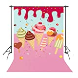 ice cream backdrop - FUERMOR Background 5ft(W)×7ft(H) Pink Ice Cream Photography Backdrop Children Studio Photo Props NANFU461