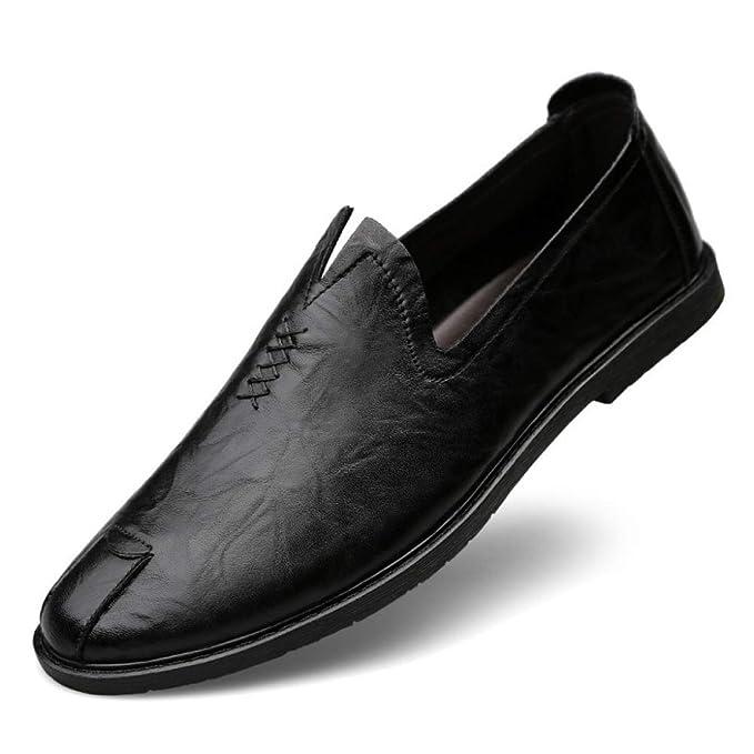 Zapatos Cómodos Para Hombre Ligeros Y Redondos Con Punta Para Hombre Mocasines De Cuero Mocasines Antideslizantes Zapatos Para Caminar Más Anchos: ...