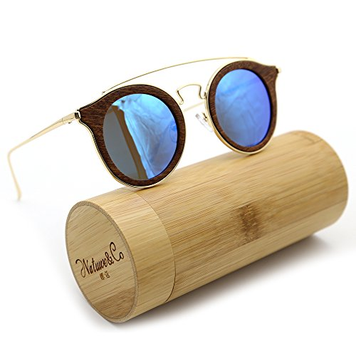 Natwve&Co Polarized Bamboo Wooden Sunglasses 2018 New Fashion Style With Slim Metal Temple (Brown Wood Grain, - Wooden Glasses Make To How