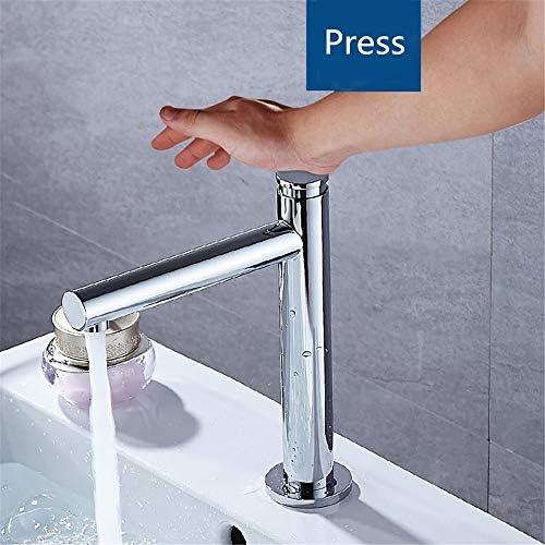 キッチン水栓 デッキマウント洗面所冷水スプレーストリームモードプレス自動オフシングルハンドル浴室の蛇口フル銅クローム仕上げ流域水栓 キッチンとバスルームに適しています (Color : Chrome color, Size : Free size)