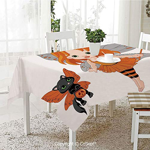 Spillproof Tablecloth,Halloween Baby Fairy and Her Cat in Costumes Butterflies Girls Kids Room Decor Decorative,Table cloth for Kitchen Dinning Tabletop Decoration(60.23