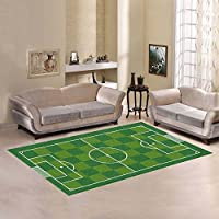 Custom Sport Football Soccer Field Area Rug Cover Carpet 7 x 5 Feet, Football Soccer Field Play Modern Carpet Floor Rugs Mat Cover for Children Kids Home Living Dining Room Playroom Decoration