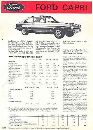 Amazon com: 1971 Ford Capri Brochure Sweden: Entertainment Collectibles