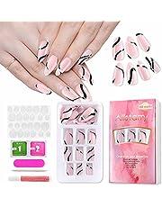 Allstarry Press on Nails Glossy False Nails Medium Length Acrylic Full Cover Nail Art Tips for Nail Salon Woman and Girls