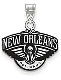 NBA New Orleans Pelicans Small Logo Pendant in Rhodium Plated Sterling Silver