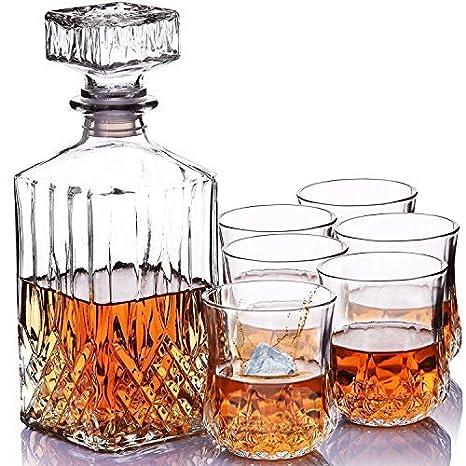 Homezone Grande Estilo Vintage Corte Cristal Whisky Decantador With 6 Gafas. 900ml Vidrio Grabado Bebidas Decantador Vino Garrafa con Gafas Juego para ...