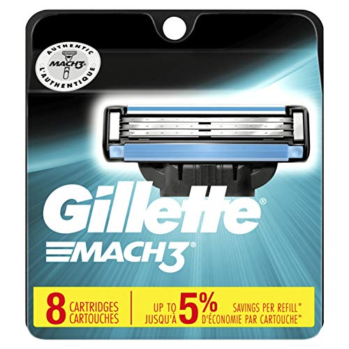 (Gillette Mach3 Men's Razor Blades, 8 Blade Refills (Packaging May Vary))