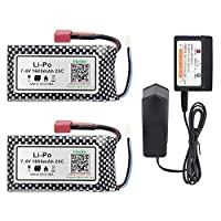 Hosim 2pcs 7.4V 1600mAh 25C T Connector Li-Polymer Rechargeable Battery Pack and 1pcs Balance Charger, Li-Po Rechargeable Battery for Hosim 9125 Truggy High Speed Truck Accessory Supplies