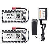 Hosim 2 PCS 7.4V 1600mAh RC Car Rechargeable Li-Po Battery Pack with 1