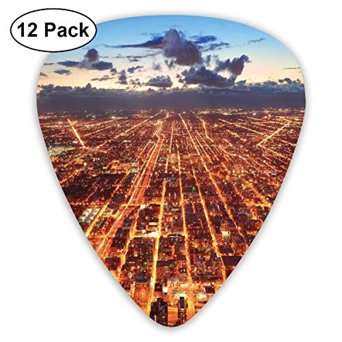 (Guitar Picks - Abstract Art Colorful Designs,Chicago Downtown Skyline Aerial Panorama View At Dusk With Skyscrapers,Unique Guitar Gift,For Bass Electric & Acoustic Guitars-12 Pack)